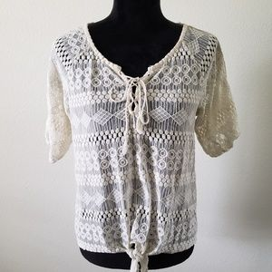 B2G1 French Laundry Boho Cream Lace Sheer Top